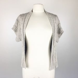 BR Gray Cabled Open Short Sleeve Shrug Cardigan S